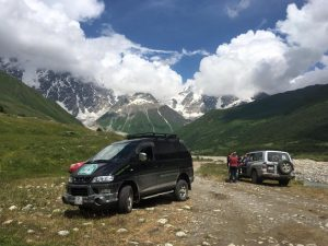 Shkhara glacier parking